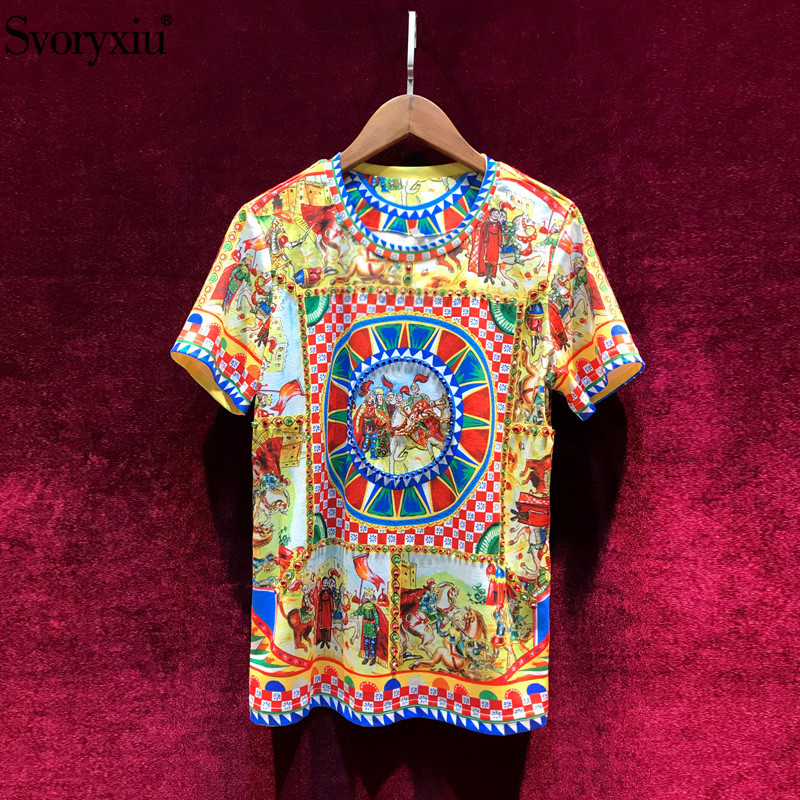 Svoryxiu Summer Women's Cotton T-shirt High Quality Runway Baroque Printing Diamond Vintage Women Top T-shirt