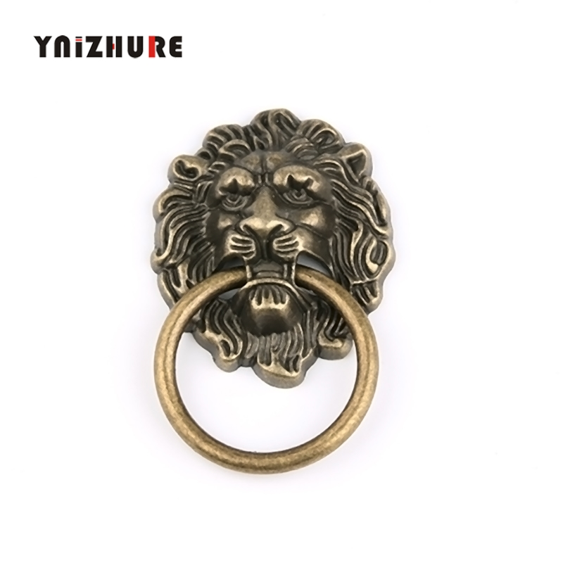 67*43mm Furniture Handles Beast For Lion Head Antique Alloy Handle Wardrobe Drawer Door Pull Retro Decoration 1PCS With Screw