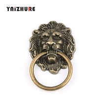 67*43mm Furniture Handles Beast for Lion Head Antique Alloy Handle Wardrobe Drawer Door Pull Retro Decoration 1PCS With Screw cheap YNIZHURE Woodworking iron CN(Origin) B350 Furniture Handle Knob Vintage 1pcs handle +1 pcs S(M4*25mm)
