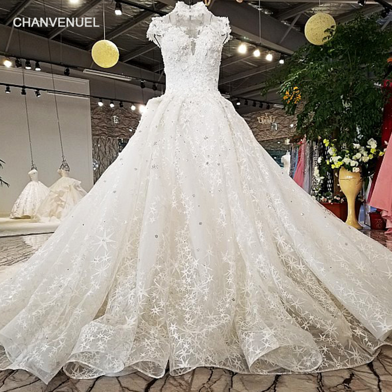 LS65410 2018 new arrival wedding gown from china short sleeves high neck  open back star lace 94ebc63b7654