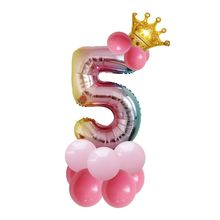 15pcs/set 32inch rainbow number balloons with gold crown unicorn party foil balloon birthday party decorations kids globos