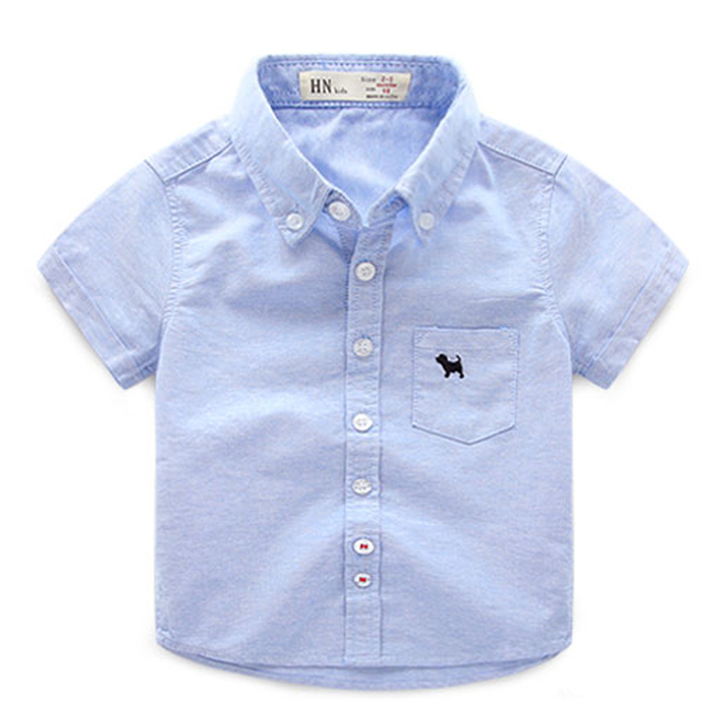 где купить 2018 summer children's clothes boys shirts solid short sleeve cotton baby shirts for boys girls kids casual turn down shirt top дешево