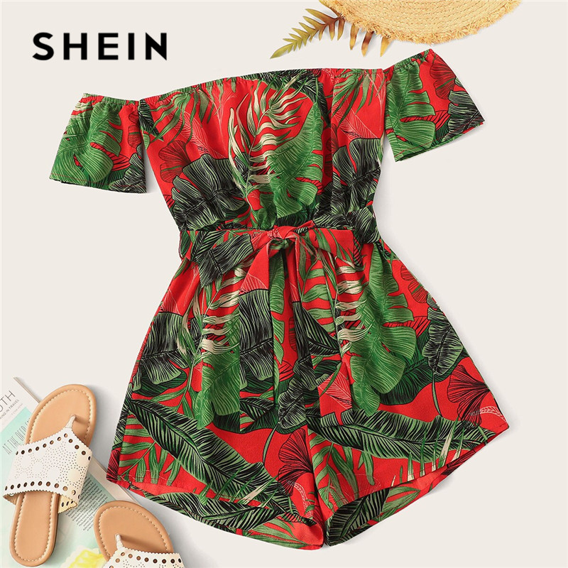 SHEIN Boho Off Shoulder Tie Front Tropical Rompers Womens   Jumpsuit   Beach Vacation Short Sleeve Sexy   Jumpsuit   Summer Playsuit