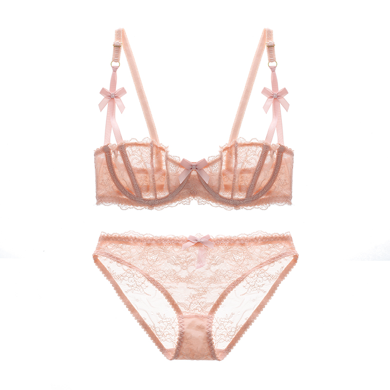 <font><b>Full</b></font> lace sponge brassiere sexy lace ultra-thin <font><b>cup</b></font> bra side gathering young girl bra set high quality new arrival women's bras