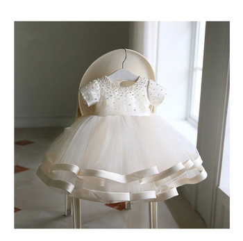 Newborn Baby Girls Gown for Baptism Christening 1st Birthday Infant Dresses Beaded Tulle Party Prom Toddler Girl Party Dresses elegant baby flower girl dresses with bow newborn party dress christening dress baptism gown tulle 1st birthday dress