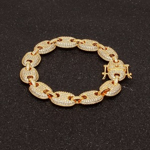 Image 4 - UWIN Coffee beans Bracelet Puffed Marine Chain 13mm Hip hop Gold color Link Fashion Punk Choker Charms Jewelry 7inch 8inch