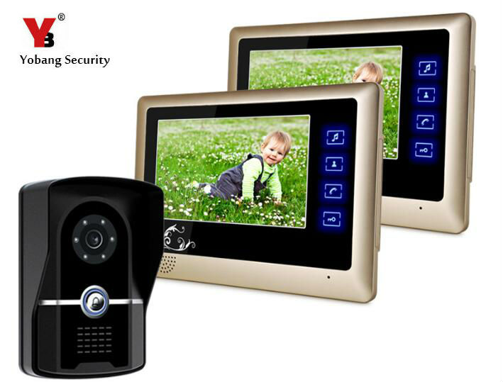 Yobang Security 7Video Doorbell Rainproof Door Camera Intercom System HD 700 lines Touch Screen Monitors Doorphone Speakerphone