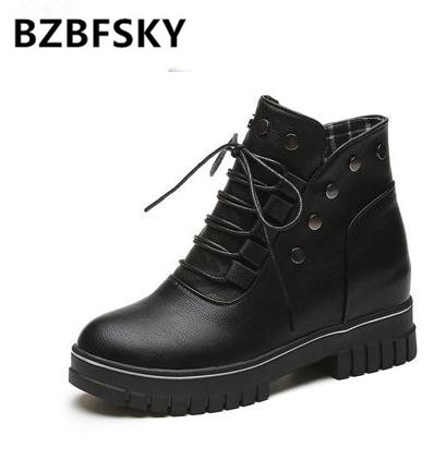 Rivet ladies designer shoes women superstar lace-up motorcycle boots adult PU leather ankle boots solid black shoes black lace up pu obi belt