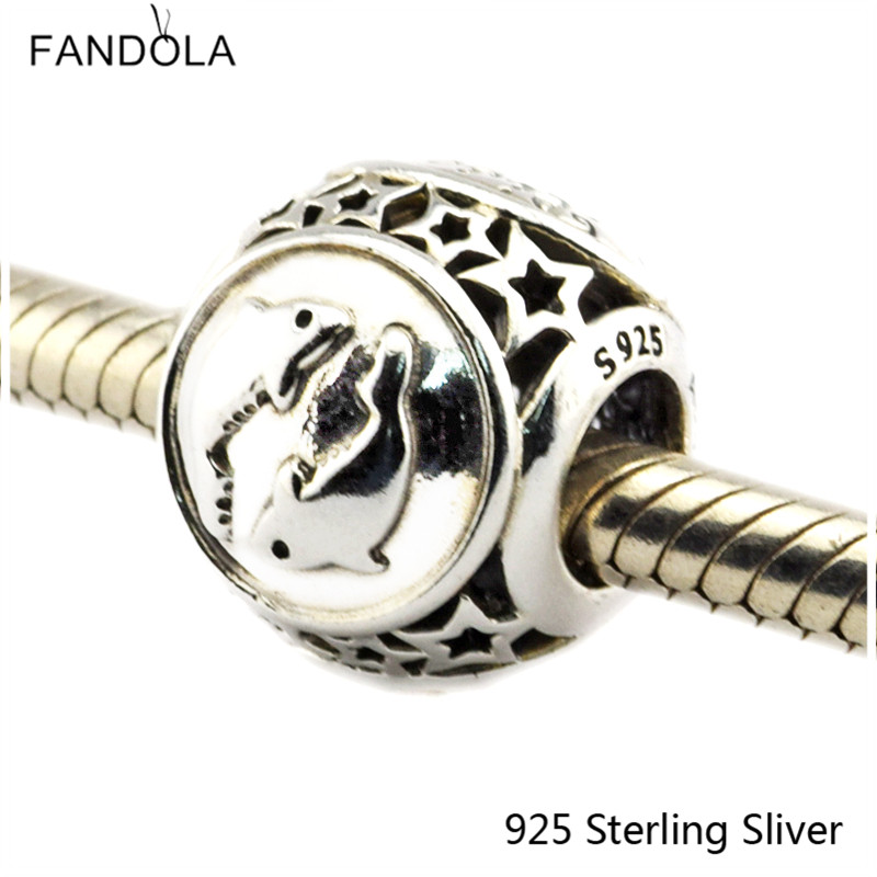 Pisces Star Sign 925 Sterling Silver Charm Beads Fits For Pandora Bracelet Charms for DIY Fine Jewelry