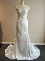 2018 Julia Kui Lustrous Cetim Colher Beading Pérolas Apliques Vestido De Noiva Escova de Trem Elegante Backless Bainha Do Vestido de Casamento