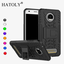 HATOLY For Case Moto Z2 Play Cover Silicone & Plastic Kickstand Case For Moto Z2 Play Case For Motorola Moto Z2 Play Funda 5.5 for motorola moto z2 play phone bag case for moto z2 play luxury crocodile skin pu leather protective case cover moto z 2 play