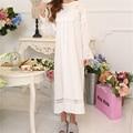 Outono Em Torno Do Pescoço Camisolas Rendas Elegante Vestido de Algodão Para Casa Dormir Camisas Sólidos Roupa Interior Confortável Camisola Feminina # H51