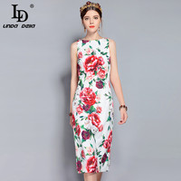 LD LINDA DELLA New 2018 Fashion Runway Summer Dress Women S Sleeveless Backless Elegant Party Peony