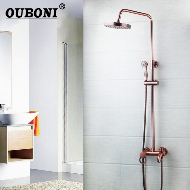 Ouboni Chrome Solid Brass Silver-plated Finish Bathroom Shower Set Lotus Rain Shower Head Bath Shower Mixer Hand Shower Faucet Bathroom Fixtures
