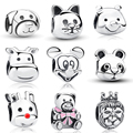 925 Plata Esterlina Gato Curioso Panda Perro León Animal Charm Pulsera Apta Jewelry Making S053