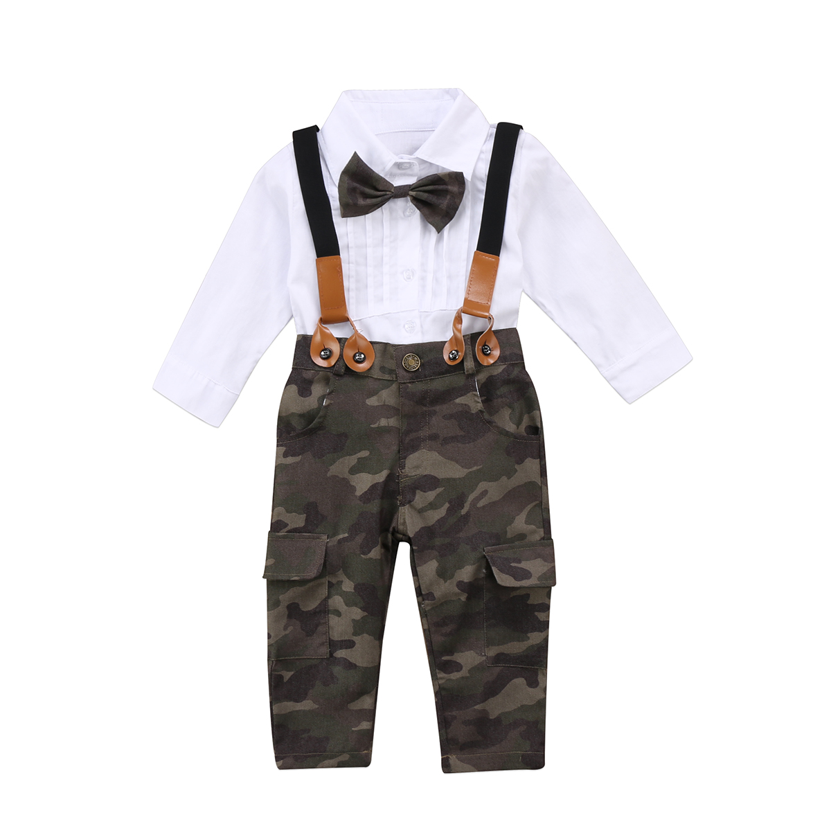 Cute Kids Baby Girl Clothes Outfit White Bow Tie shirts Tops Camouflage Pants Overalls 2pcs Set Autumn Girls Clothing 1-6Years