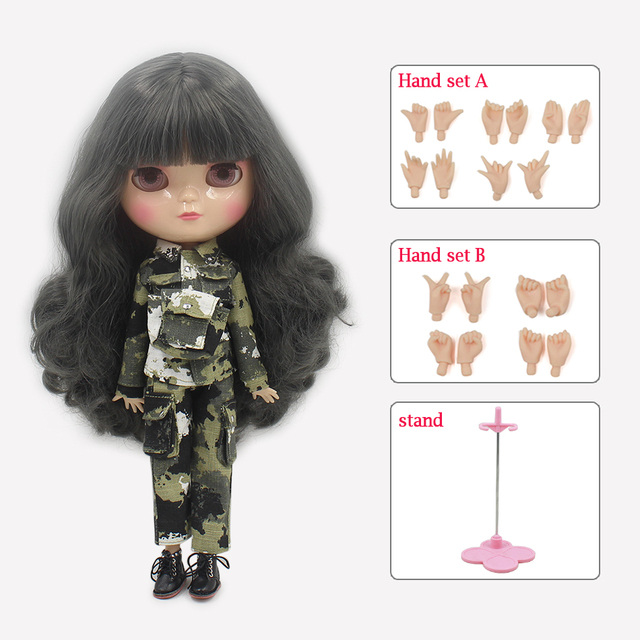 ICY Neo Blythe Doll Full Combo Box Grey Hair Azone Jointed Body 28cm