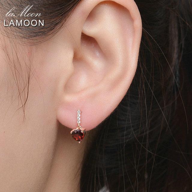 Lamoon Drop Earrings Fine Jewelry Trendy 0.6ct Heart Natural Red Garnet 925 Sterling-silver-jewelry 18K Rose Gold S925 LMEI030