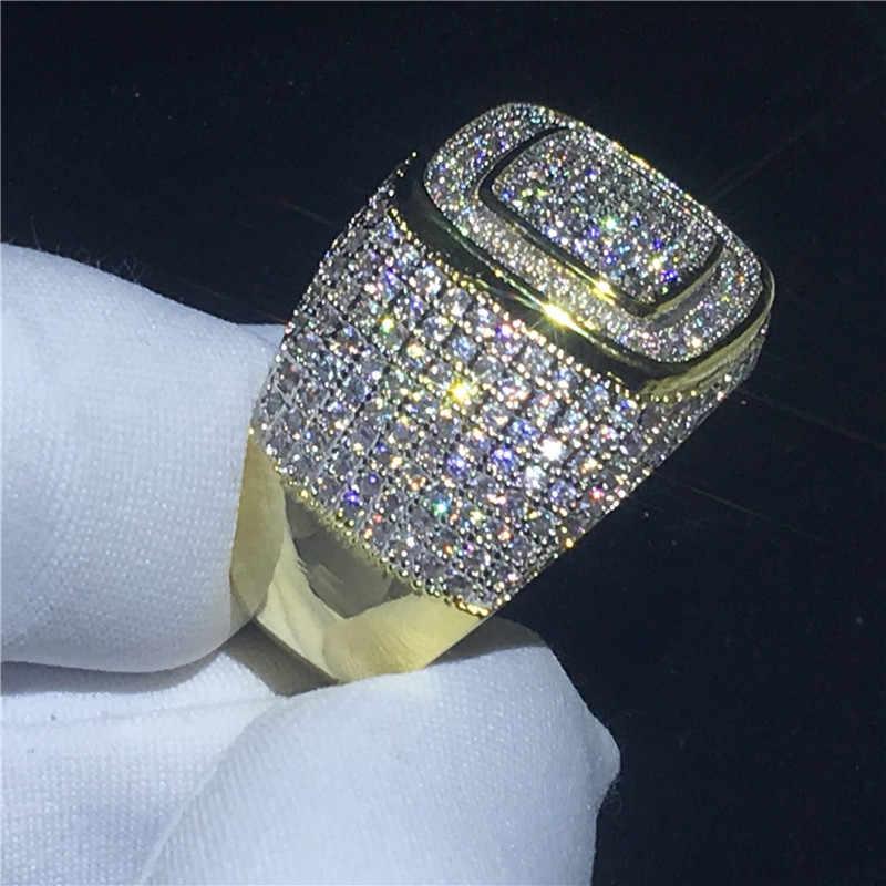 Choucong 2018 HIP HOP parte 274 piezas 5A zircon cz de oro amarillo de plata 925 de compromiso anillos de boda para de la joyería de los hombres