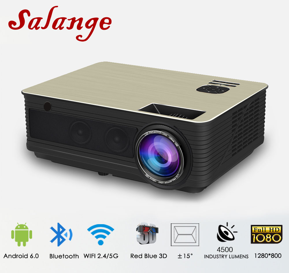 лучшая цена Salange M5 LED Projector 4500 Lumens Android 6.0 Bluetooth WiFi Optional Beamer proyector TV Video Home Theater support 1080P