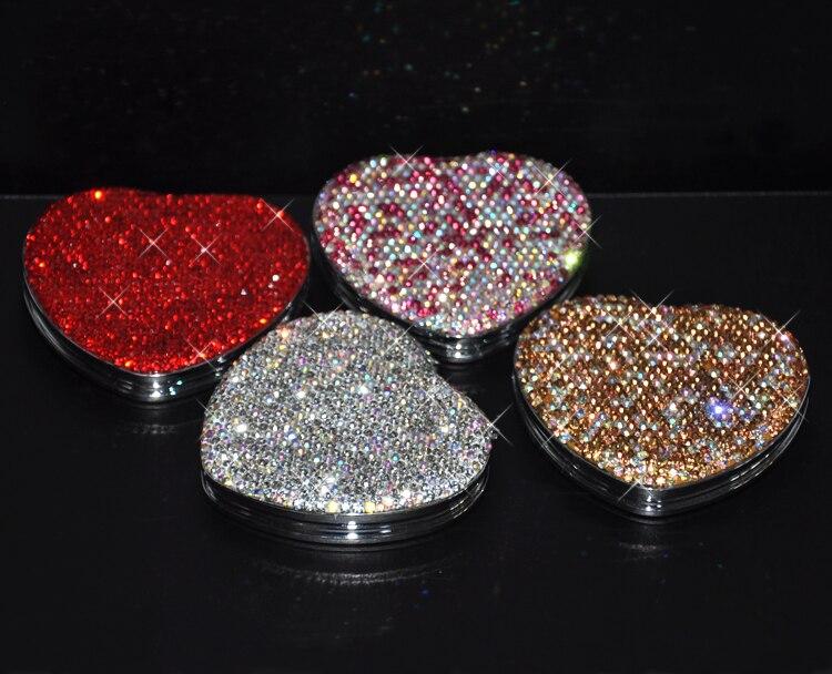 Miroir cosmétique de poche avec cristaux maquillage miroir portable Compact miroir de maquillage saint valentin cadeau pour elle