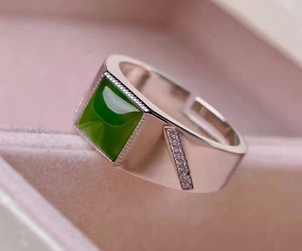 Fashion silver man gemstone ring 8*8mm 2 ct natural green jade ring for man solid 925 silver jade man ring fashion man jewelry