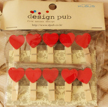10pcs With Rope Creative Wooden Red Heart Clip for Married Photo Propose Home Decoration