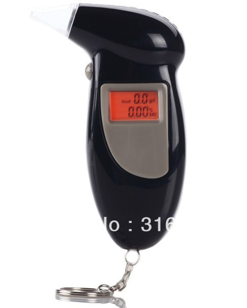 Free shipping! LCD Alcohol Tester Breathalyzer with red Backlight + 5pcs Mouthpieces+Keychain alcohol tester analyzer