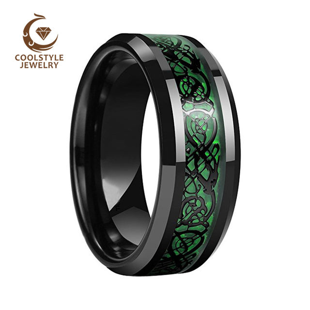 8mm black ceramic ring black dragon inlay over green carbon fiber wedding band engagement ring comfort - Carbon Fiber Wedding Rings