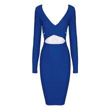 INDRESSME 2018 New arrvial sexy bodycon backless dress  v neck long sleeve women bandage dress