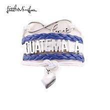 31bfa642645f Little MingLou Infinity amor Guatemala corazón pulsera del abrigo del cuero  del encanto pulseras y brazaletes