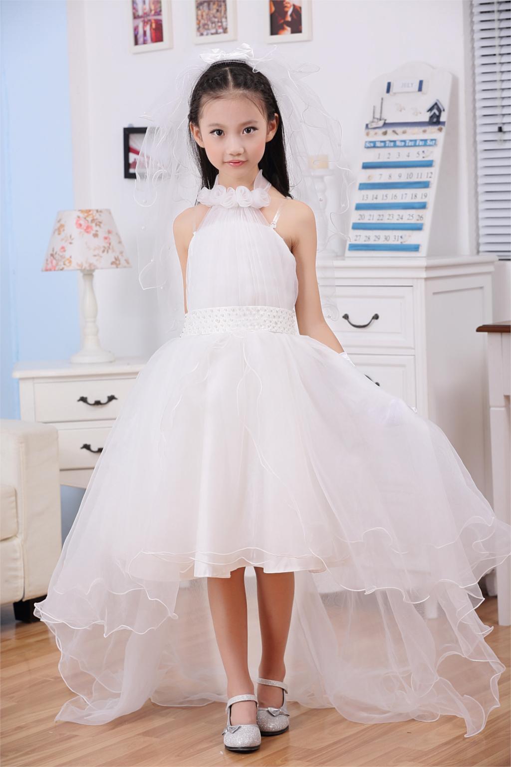 2019 Brand New Halter Design Princess Flower Girl Dress White