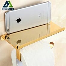 Bathroom Lavatory Toilet Paper Holder and Dispenser Golden Roll Paper Rack Mobile Shelf Free Shipping