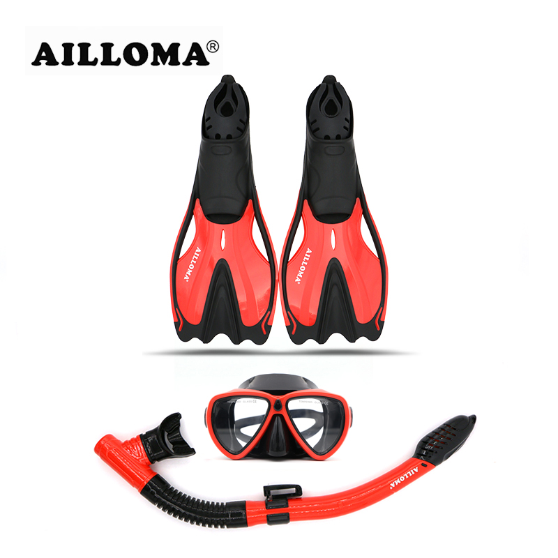 AILLOMA Adult Diving Flipper sets Swimming Shoes Anti-Fog Mask Goggles Full Dry Snorkel Diver Fins Breathing Scuba Diving Tube anti fog full face snorkeling mask diving snorkel 180 degree vision for gopro free breathing dive gear tube swimming diving mask