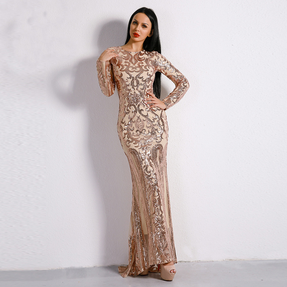 Long Dress Vintage Fashion Women Night Club Celebrity Evening Party Long Sleeve Elegant Dresses Autumn Winter