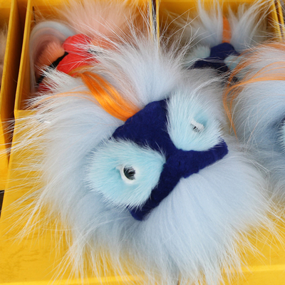 a1d83fc9e939 Light Blue Fox Fur Keychains Monster Handbag Charms Real Furry Keychains  Keyring Royal Blue Face Pompom Bag Bugs Charm