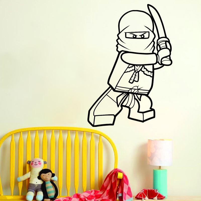 Reka bentuk seni vinil hiasan rumah murah Kartun Lego ninja stiker dinding hiasan rumah yang boleh ditanggalkan mainan sebut harga decals untuk bilik tidur