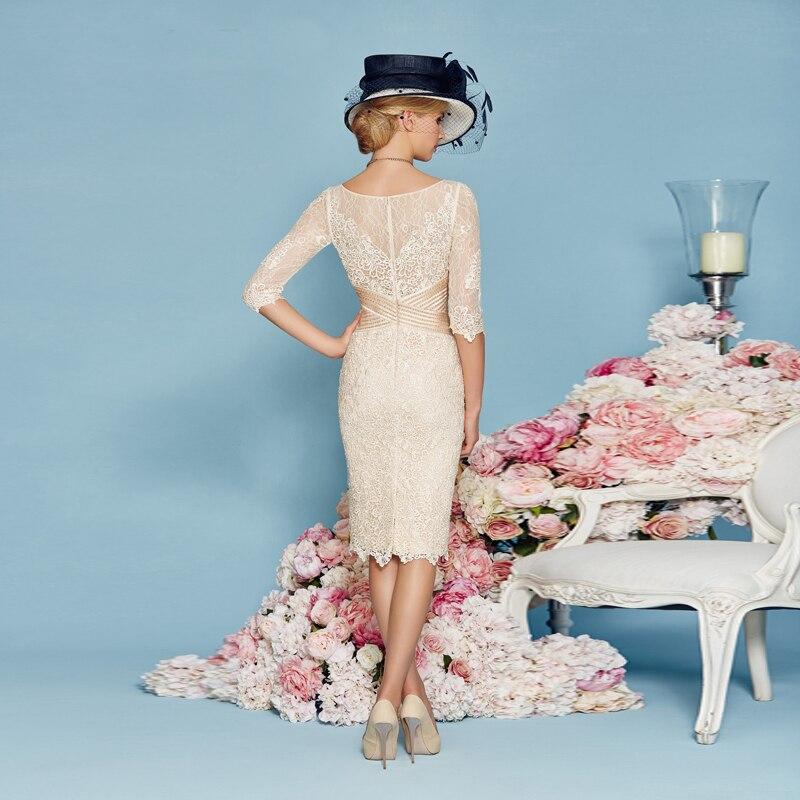 4ca6ea68ab Champagne Elegant Vestidos de Festa with Half Sleeves Jacket Sheath ...