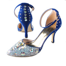 Handmade pointed toe D'orsay ankle strap woman high heels sexy rhinestone crystal pumps dress shoes blue wedding party prom