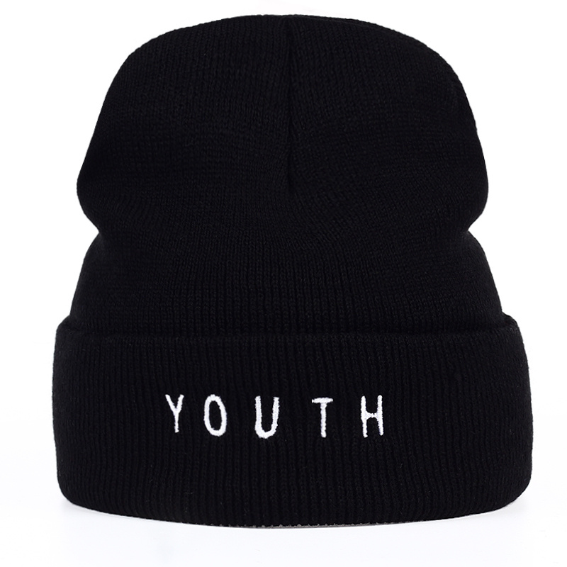 TUNICA New women men hat fashion winter cotton warm hat youth letter black   Skullies   &   Beanies   hats Gorros winter wool warm hat