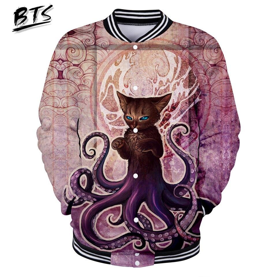 BTS Heißer Verkauf 3D Octopus Casual Druck Langarm Baseball Jacke Frauen Kleidung 2018 Hüfte Hop Kpop Tops Plus Größe 4XL Q0351-Q0356