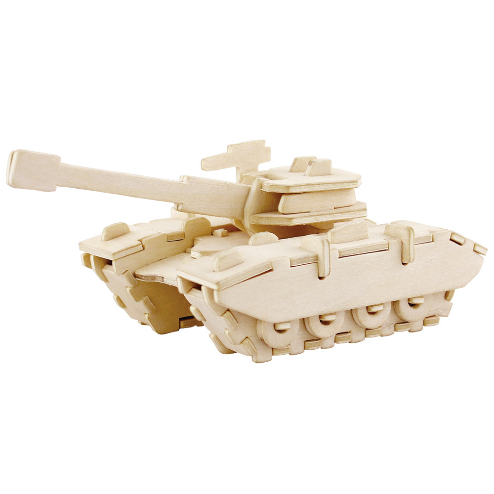 Kids wood craft kits - Unfinished 3d Tank Wood Puzzle Toy For Kids Model Building Kits Art Craft Toys Jp234