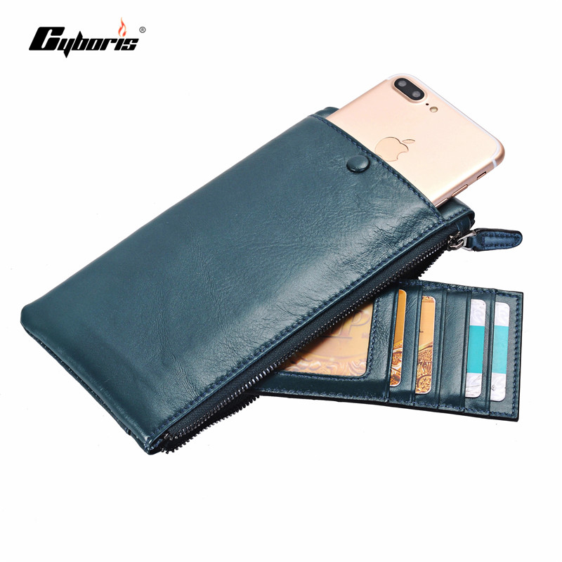 CYBORIS Handmade Wallet Genuine Leather Case For iPhone 7 7plus 6 6s plus 5 5c SE 4 Zipper Purse Pouch Phone Cases Handbag