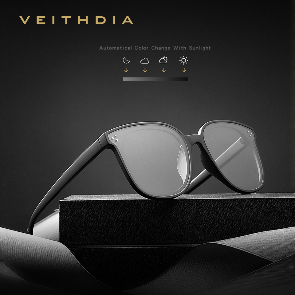 2019 VEITHDIA NEW Brand Designer Vintage Unisex Sunglasses Polarized Photochromic Lens Sun Glasses For Men/Women VT8510