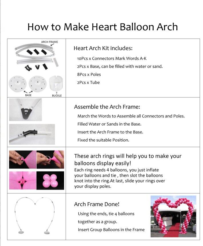 1 set/lot Heart Wedding Balloon Arch Kit frame ,heart shape Balloon ...