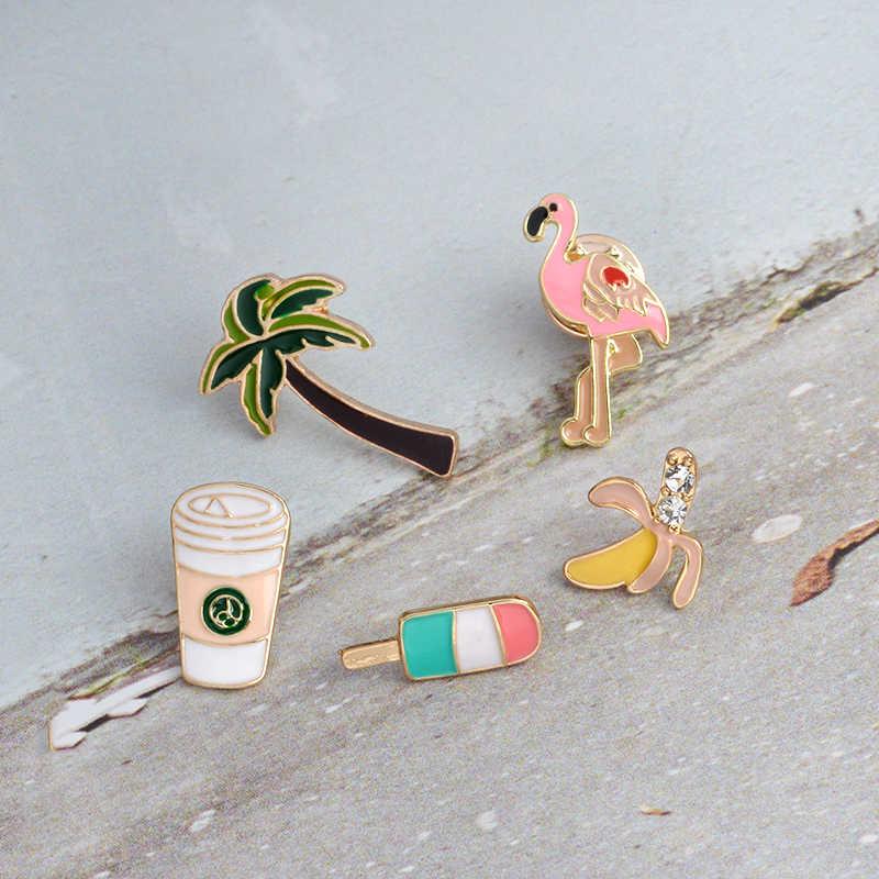 Mini Flamingo กาแฟไอศกรีมกล้วย Lapel เคลือบปุ่ม pins denim น่ารักป้ายเข็มกลัดเครื่องประดับเทศกาลของขวัญขายส่ง