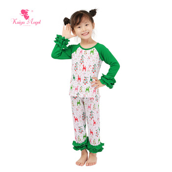 Kaiya Angel Toddler Girl Clothing 2017 Christmas Boutique Kids Clothing Reindeer Raglans Leggings 2 Piece Girls Boutique Outfits