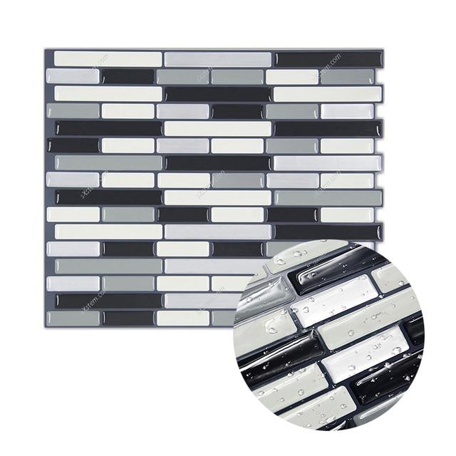 Yazi Flame Retardant Tiles Sticker Kitchen Backsplash 3D Wall Stickers  Kitchen Bathroom Waterproof Wall Decal