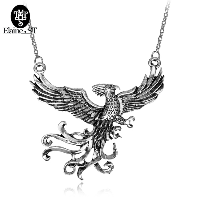 Phoenix fire bird necklace vintage antique silver firebird pendant phoenix fire bird necklace vintage antique silver firebird pendant jewelry for men and women wholesale 20pcs aloadofball Images