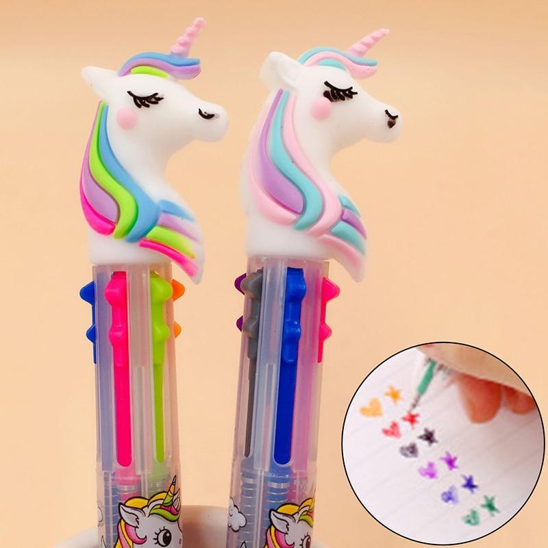 3D Cartoon Unicorn Colorful Ballpoint Pen Ball Point Pens Children Kids Gifts